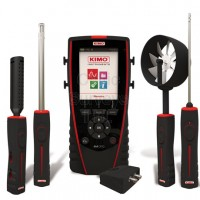 Kimo AMI 310 PRO: portable instrument supplied with a ±500 Pa pressure module, a Ø6 mm Pitot tube, 2 x 1 m of silicone tube, a stainless steel tip, a stainless steel hygrometry probe, a telescopic hotwire probe and a telescopic Ø100 mm vane probe